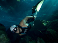 Carlos Coste World record Freediver in a Cave in Mexico 2010