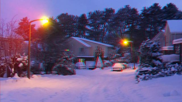 3d video - edinburgh beautiful snow slideshow 2 - anaglyph red cyan