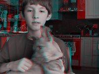 3D anaglyph of cute puppy and boy