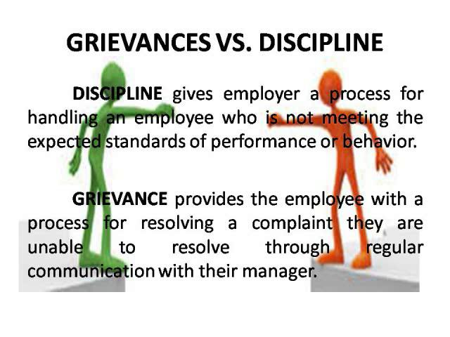 discipline grievance Discipline, grievance and disputes  without intervention, workplace disputes or grievances can escalate to have a crippling impact on productivity and morale.