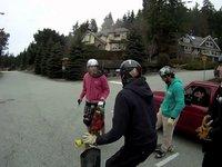 One Winter Downhill Skateboard Run