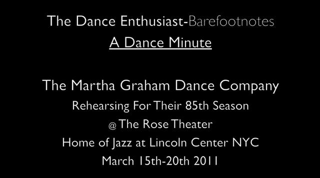 The Dance Enthusiast Barefootnotes- A Minute of Dance on the Mesa -Martha Graham Dance Company in rehearsal