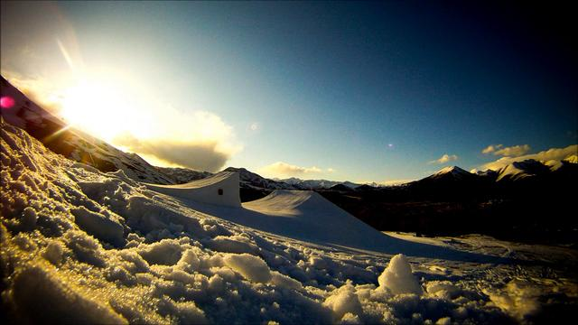 Three hour GoPro time lapse of a sunset skiing jump session on the volcano jump with Level 1 Productions in Sun Valley, Idaho.