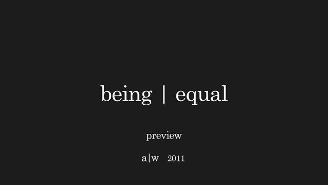 Video | being|equal Autumn/Winter 2011 Looks