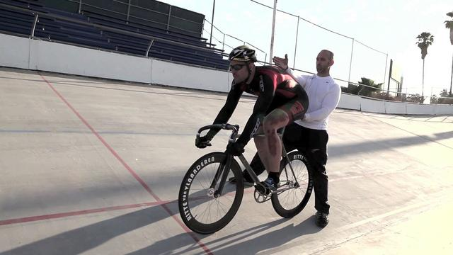 Sprint champion and USACycling coach Jamie Staff at the Encino Velodrome