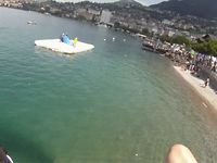 Sky Water Show - Landing on the raft on lake Geneva