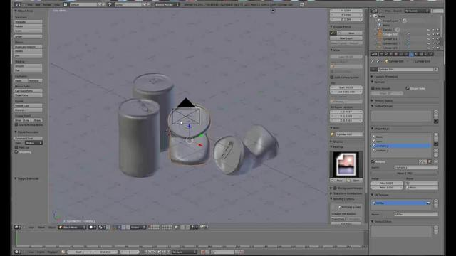 Model a crushed can in blender