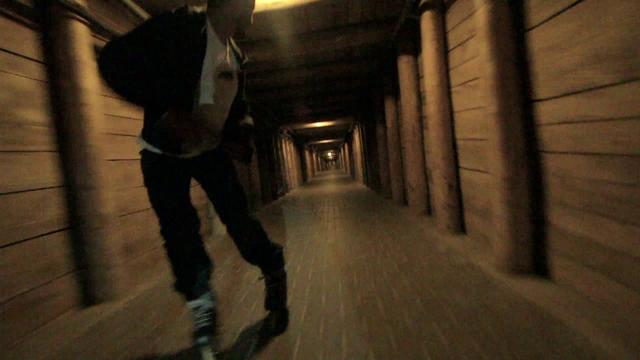 Rollerblading down a salt mine in Poland.