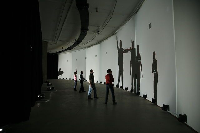 """Frequency and Volume"" at the Barbican Centre (2008) by Rafael Lozano-Hemmer"