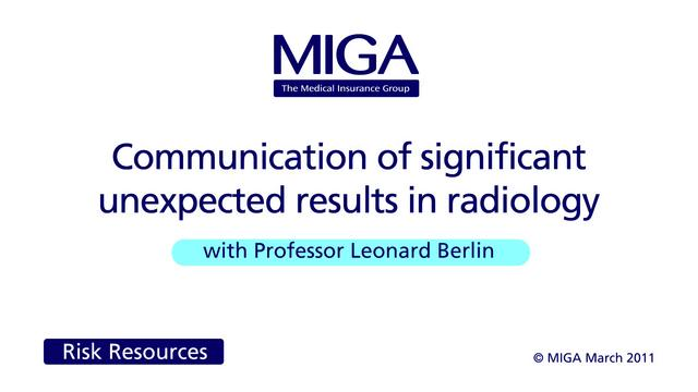 Communication of significant unexpected results in radiology
