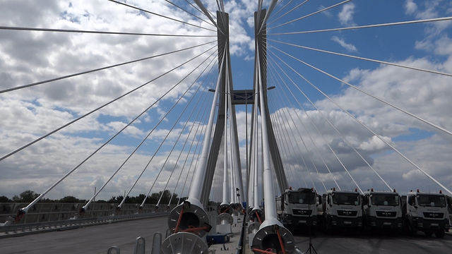 Most Rędziński - próba obciążeniowa.