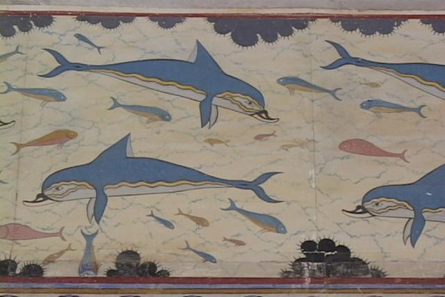 0258 queens bathroom dolphin wall painting palace of for Dolphin mural knossos