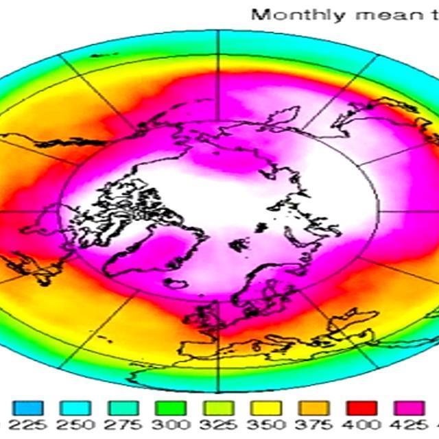 Evolució capa d'ozó a l'àrtic 1979-2011 (Crédits: KNMI)