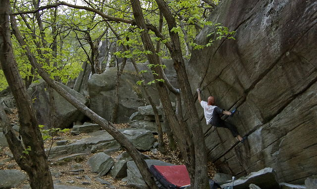 BD athlete Chris Schulte bouldering in Magic Wood, Switzerland