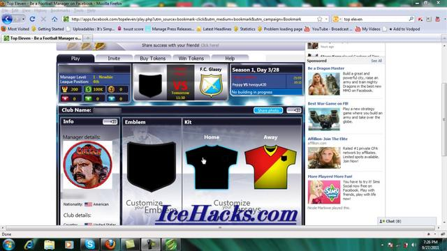 Facebook Top Eleven(No Surveys Hack Ver 5.2b Top Eleven Hack Download