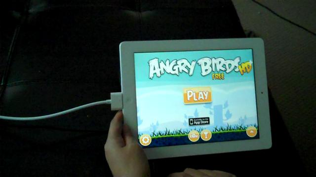 Playing angry birds on aaxa p4 pico projector and ipad 2 for Best pico projector for ipad 2