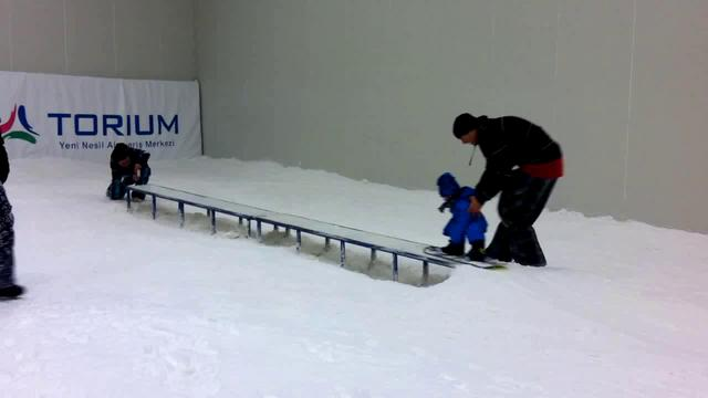18 months Ilgaz snowboarding first time.