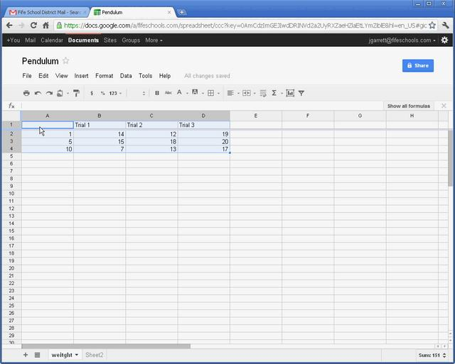 Creating a graph in Google Docs