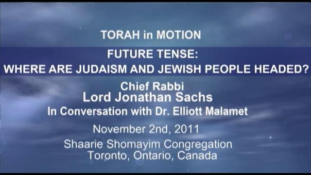 Torah in Motion's 10th Year Keynote Lecture Featuring Chief Rabbi Lord Jonathan Sacks