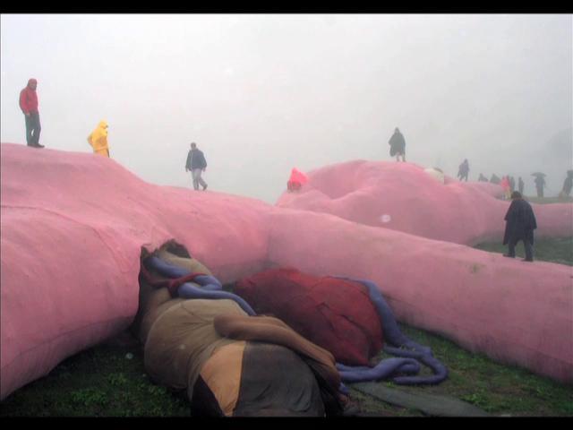 gelitin giant pink rabbit 2005 on vimeo