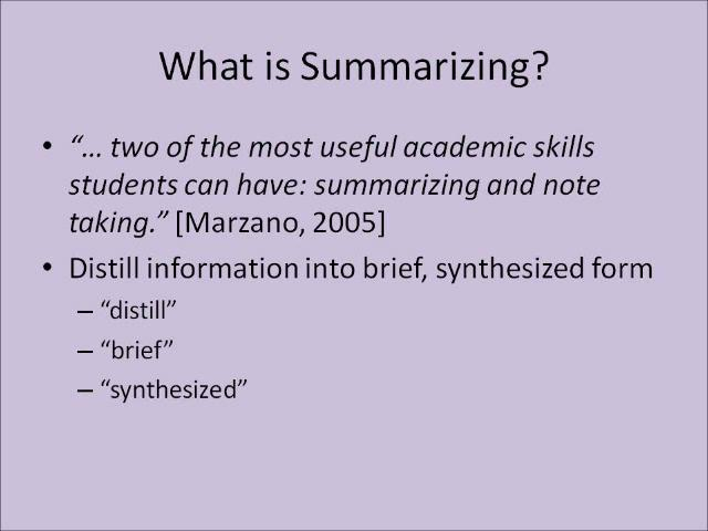 how to summarise for study