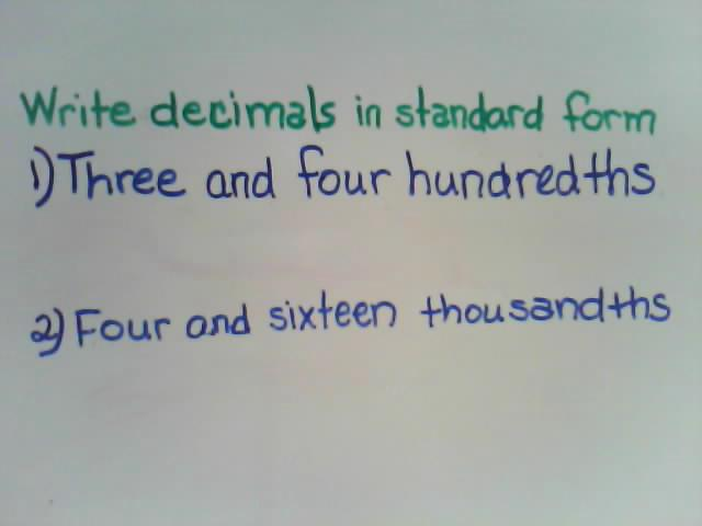 writing decimals in standard form