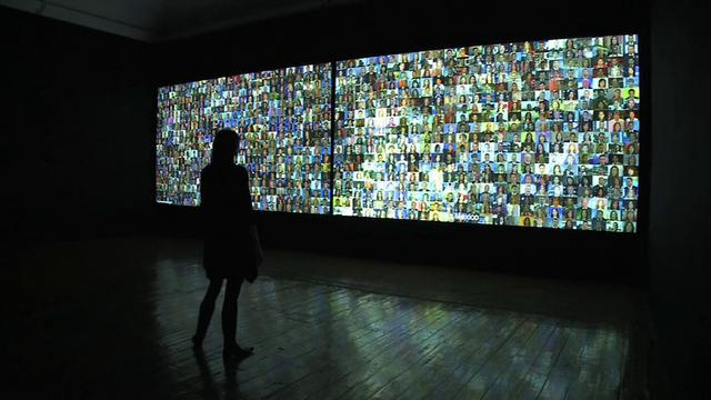 """Reporters With Borders - installation version"" (2008) by Rafael Lozano-Hemmer"
