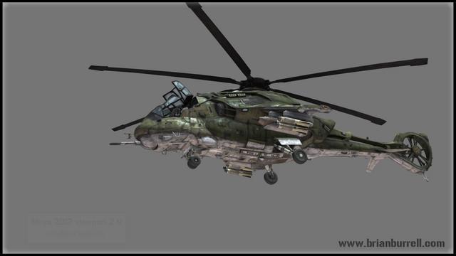 Futuristic Hind Helicopter - Maya Viewport 2.0
