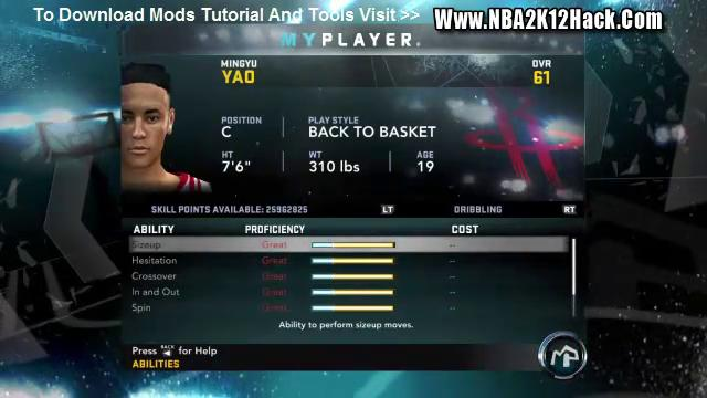 nba 2k12 my player cheats skill points
