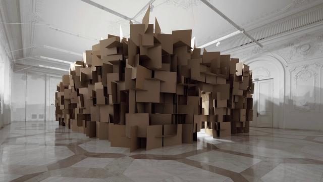 """200 prepared dc-motors, 2000 cardboard elements 70x70cm"" (2011) by Zimoun + Hannes Zweifel"