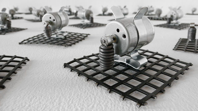 """23 prepared dc-motors, grid"" (2010) by Zimoun"