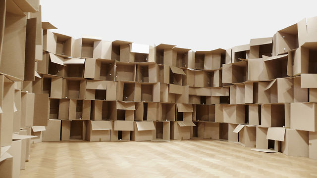 &quot;186 prepared dc-motors, cardboard boxes 60x60x60cm&quot; (2010) by Zimoun