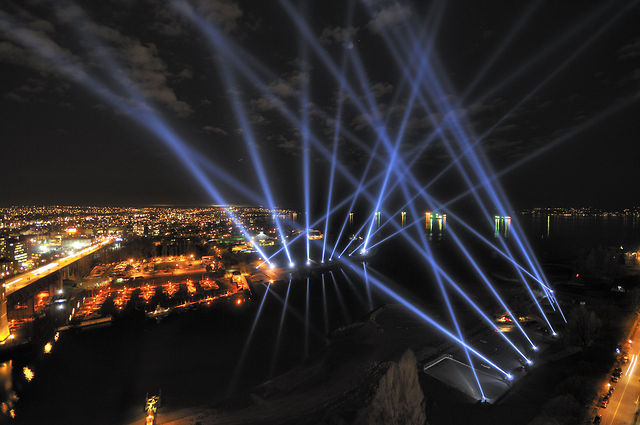 """Vectorial Elevation"" at Winter Olympic Games (2010) by Rafael Lozano-Hemmer"