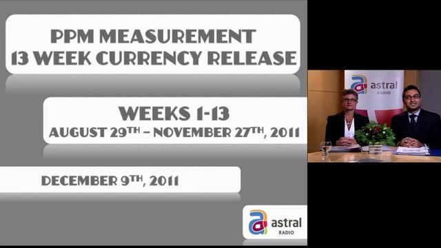 PPM Measurement  13 Week Currency Release, August 29 - November 27, 2011  Webcast by Astral Radio