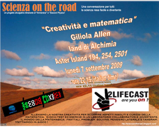 Scienza on the road: 07 sett Giliola Allen creatività e matematica