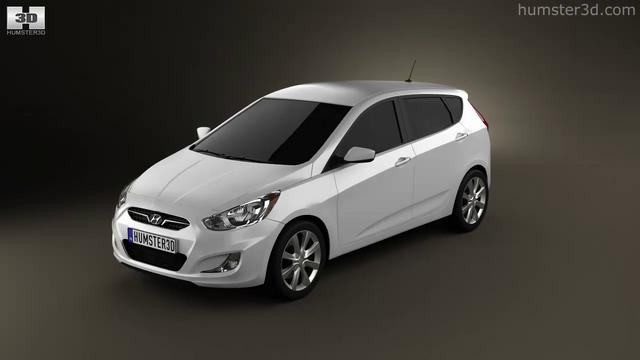 Hyundai accent i25 hatchback 2012 by 3d model store humster3d com
