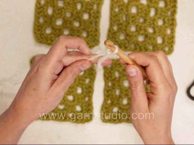 Crocheting Granny Squares Together Video : DROPS Crochet Tutorial: How to crochet granny squares together on ...