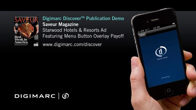 Saveur Magazine, Interactive Starwood Ad - Digimarc Discover Example