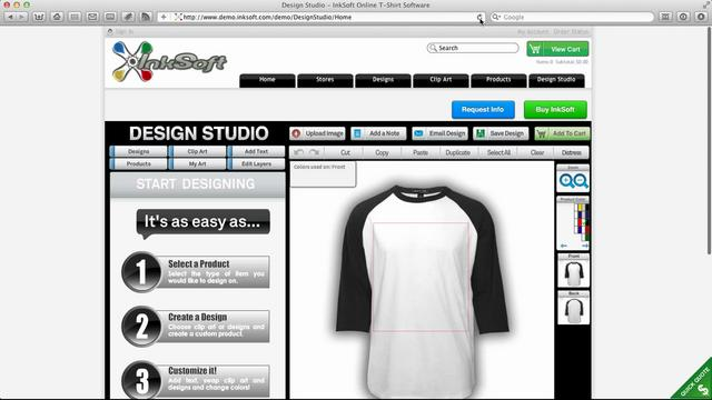 Inksoft online t shirt designer software greetbox on vimeo for T shirt logo design software