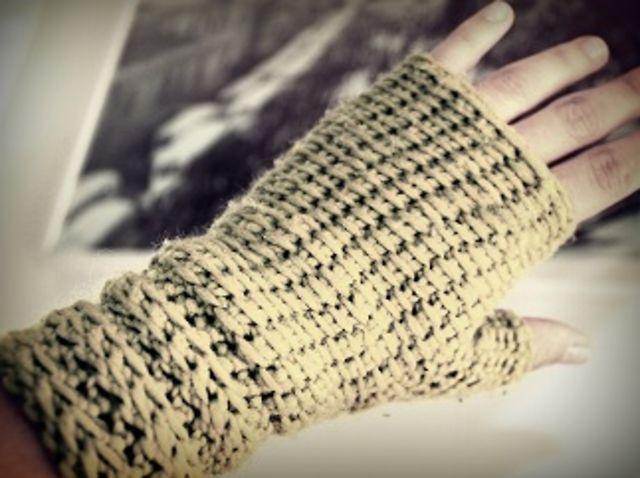 Guantes Sin Dedos  Mitones  En Crochet Tunecino