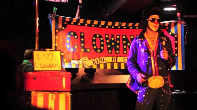Clownvis Presley, the KING OF CLOWNS, performing at Inferno