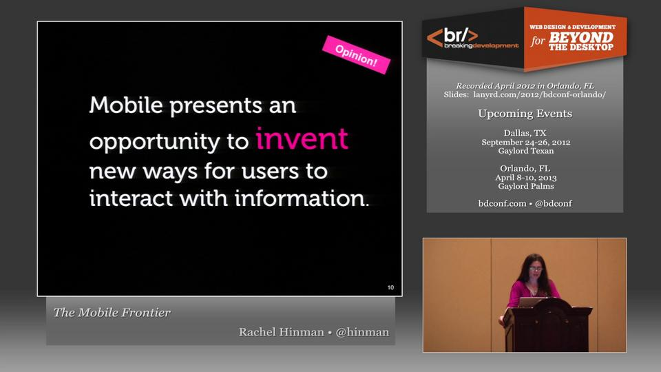 Rachel Hinman - The Mobile Frontier - BD Conf, April 2012