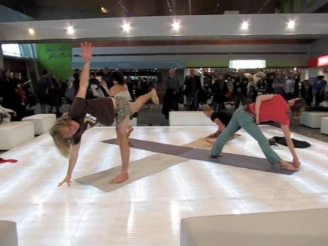 Yoga at Wellington Airport during the 2011 Rugby World Cup