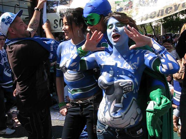 Vancouver Canuck Fans Painted Girls