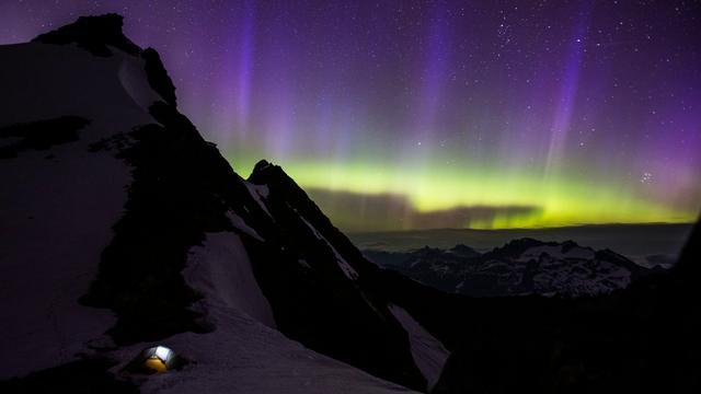Northern Lights: Sahale Glacier, North Cascades, WA (short clip)