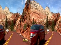 Driving through Zion National Park, Utah 3D camera mounted on drivers side mirror.