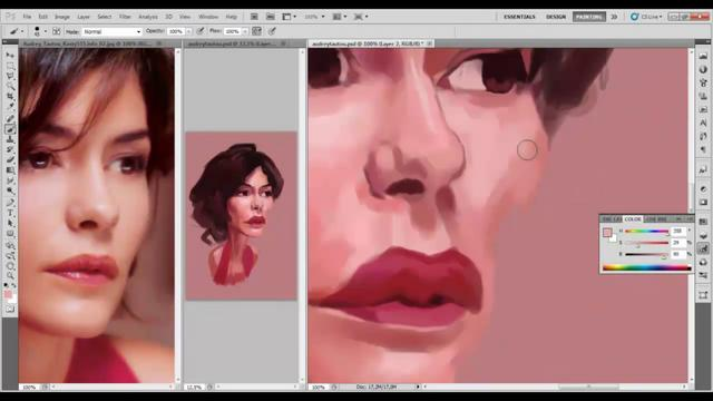 Audrey Tautou caricature drawing process.