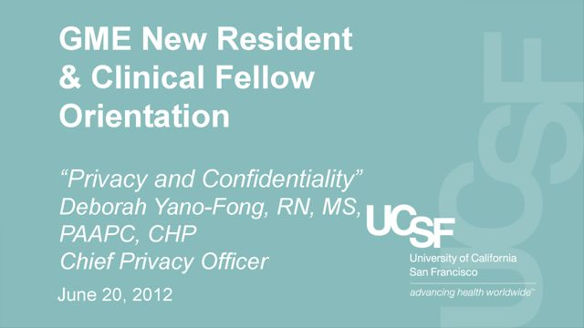 """Privacy and Confidentiality"" - Deborah Yano-Fong, RN, MS, PAAPC, CHP  Chief Privacy Officer"