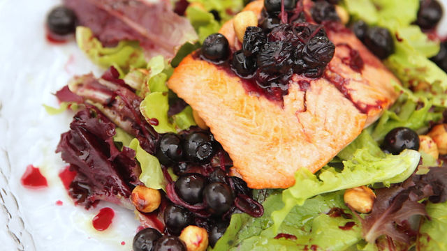 Wild Sockeye Salmon Salad with BC Blueberries