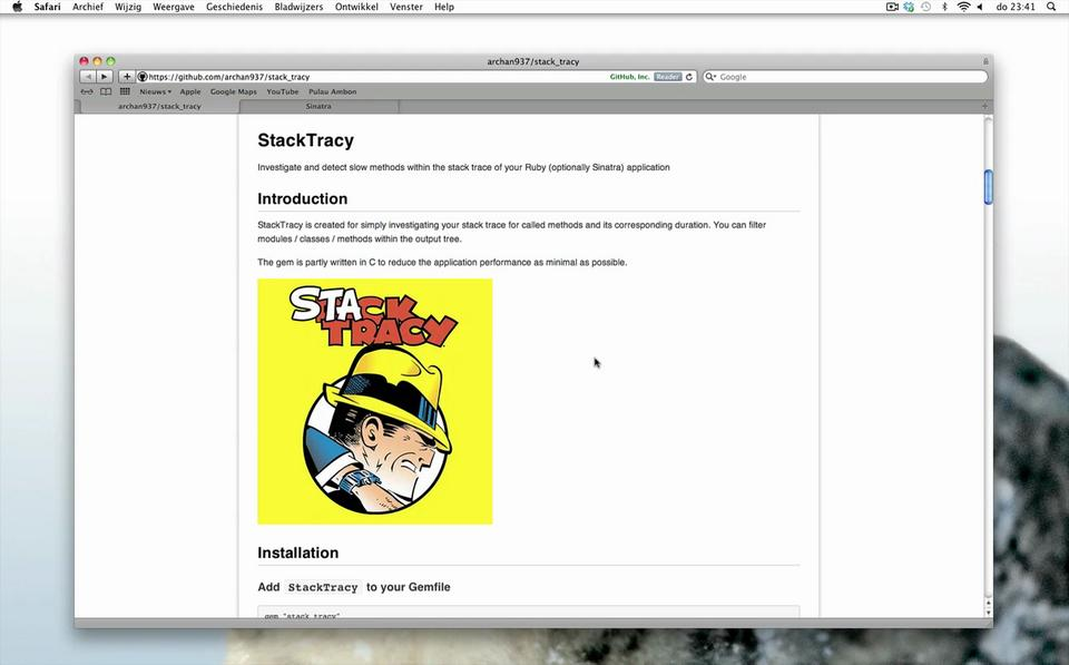 Using StackTracy within a small Sinatra application